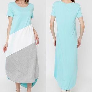 Teal Color Block Maxi Dress